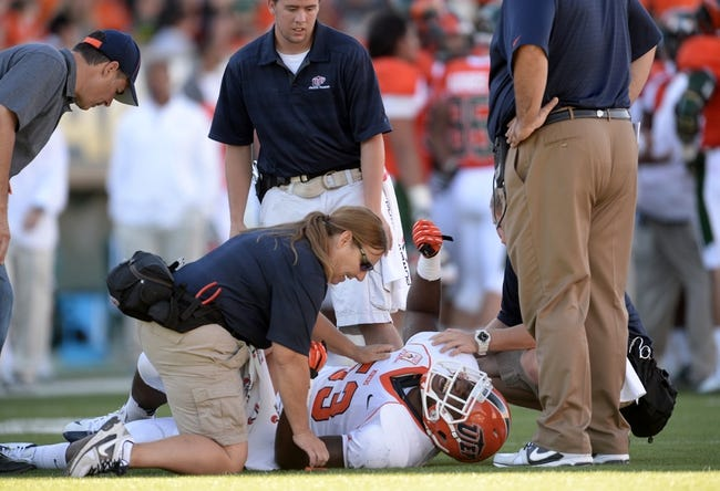 Sep 28, 2013; Fort Collins, CO, USA; UTEP Miners linebacker DeAndre Little (53) reacts to a right knee injury in the fourth quarter of the game against the Colorado State Rams at Hughes Stadium. The Rams defeated the Miners 59-42. Mandatory Credit: Ron Chenoy-USA TODAY Sports