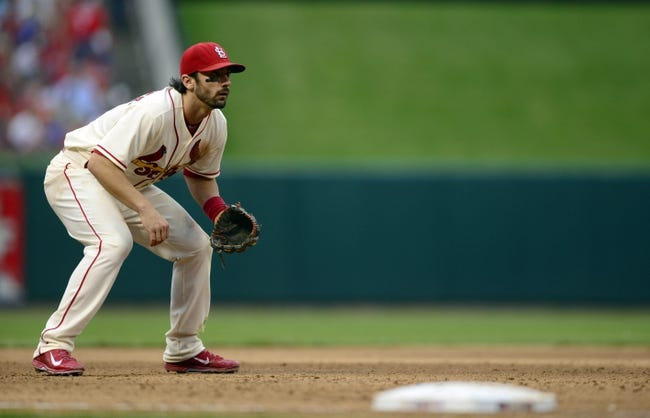 Sep 28, 2013; St. Louis, MO, USA; St. Louis Cardinals third baseman Matt Carpenter (13) plays third base during the sixth inning against the Chicago Cubs at Busch Stadium. St. Louis defeated Chicago 6-2. Mandatory Credit: Jeff Curry-USA TODAY Sports