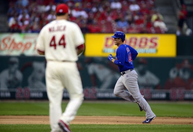 Sep 28, 2013; St. Louis, MO, USA; Chicago Cubs first baseman Anthony Rizzo (44) runs the bases after hitting a solo home run off of St. Louis Cardinals relief pitcher Edward Mujica (44) during the ninth inning at Busch Stadium. St. Louis defeated Chicago 6-2. Mandatory Credit: Jeff Curry-USA TODAY Sports