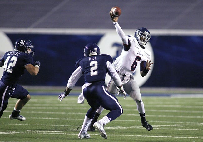 Sep 28, 2013; Houston, TX, USA; Florida Atlantic Owls quarterback Greg Hankerson (6) throws a pass against the Rice Owls during the second quarter at Rice Stadium. Mandatory Credit: Andrew Richardson-USA TODAY Sports