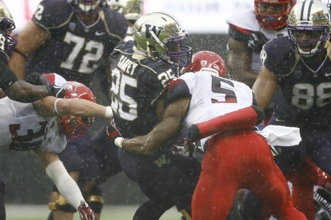 Sep 28, 2013; Seattle, WA, USA; Washington Huskies running back Bishop Sankey (25) rushes against the Arizona Wildcats during the first quarter at Husky Stadium. Mandatory Credit: Joe Nicholson-USA TODAY Sports