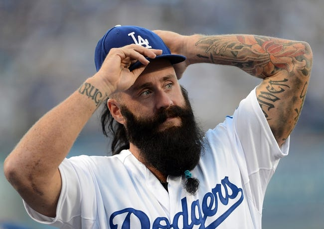 Sep 28, 2013; Los Angeles, CA, USA;   Los Angeles Dodgers pitcher Brian Wilson (00) during the game against the Colorado Rockies at Dodger Stadium. Mandatory Credit: Jayne Kamin-Oncea-USA TODAY Sports