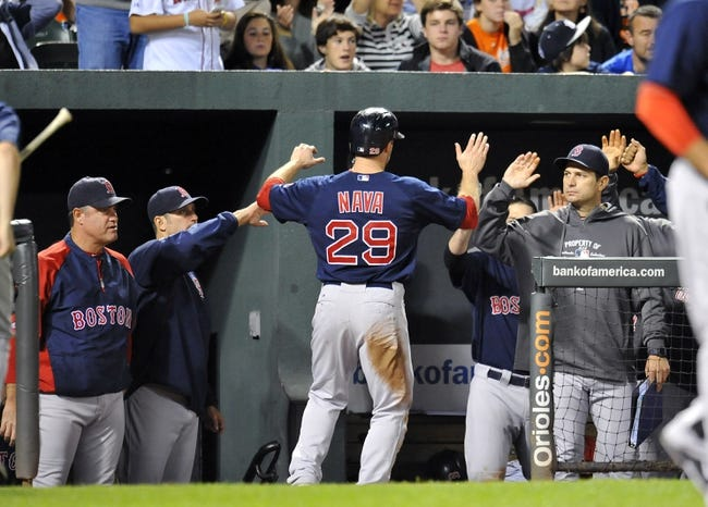 Sep 28, 2013; Baltimore, MD, USA; Boston Red Sox right fielder Daniel Nava (29) is congratulated by teammates after scoring in the sixth inning against the Baltimore Orioles at Oriole Park at Camden Yards. The Orioles defeated the Red Sox 6-5. Mandatory Credit: Joy R. Absalon-USA TODAY Sports