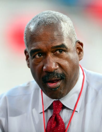 Sep 28, 2013; Columbus, OH, USA; Ohio State Buckeyes athletic director Gene Smith prior to the game against the Wisconsin Badgers at Ohio Stadium. Mandatory Credit: Andrew Weber-USA TODAY Sports