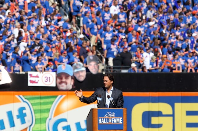 Sep 29, 2013; New York, NY, USA; New York Mets former catcher Mike Piazza speaks during his induction into the Mets Hall of Fame prior to the game against the Milwaukee Brewers at Citi Field. Mandatory Credit: Brad Penner-USA TODAY Sports