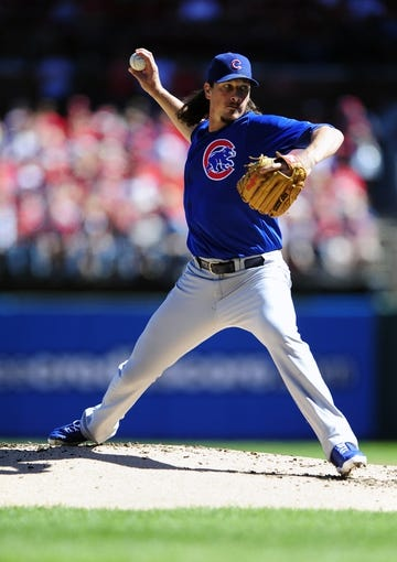 Sep 29, 2013; St. Louis, MO, USA; Chicago Cubs starting pitcher Jeff Samardzija (29) throws to a St. Louis Cardinals batter during the first inning at Busch Stadium. Mandatory Credit: Jeff Curry-USA TODAY Sports