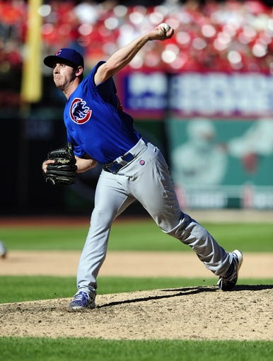 Sep 29, 2013; St. Louis, MO, USA; Chicago Cubs relief pitcher Zac Rosscup (59) throws to a St. Louis Cardinals batter during the eighth inning at Busch Stadium. St. Louis defeated Chicago 4-0 and clinched the best record in the National League. Mandatory Credit: Jeff Curry-USA TODAY Sports