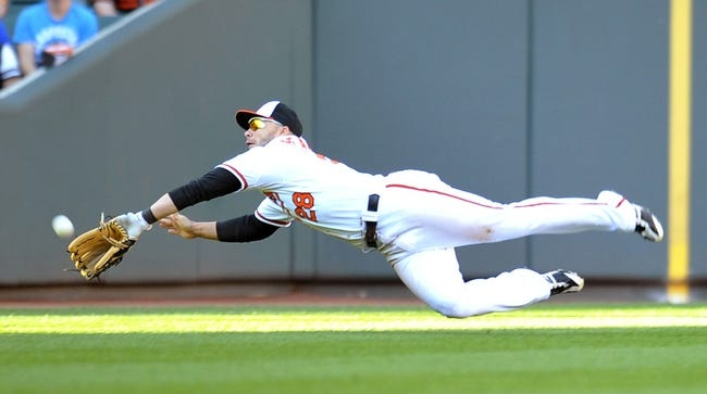 Sep 29, 2013; Baltimore, MD, USA; Baltimore Orioles left fielder Steve Pearce (28) dives to catch the ball in the seventh inning at Oriole Park at Camden Yards. The Orioles won 7-6. Mandatory Credit: Joy R. Absalon-USA TODAY Sports
