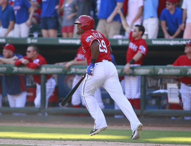 Sep 29, 2013; Arlington, TX, USA; Texas Rangers third baseman Adrian Beltre (29) watches a his home run in the eighth inning of the game against the Los Angeles Angelsat Rangers Ballpark in Arlington. The Rangers beat the Angels 6-2. Mandatory Credit: Tim Heitman-USA TODAY Sports