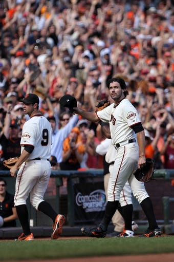 Sep 29, 2013; San Francisco, CA, USA; San Francisco Giants pitcher Barry Zito (75) acknowledges fans as he leaves the field against the San Diego Padres during the eighth inning at AT&T Park. Mandatory Credit: Kelley L Cox-USA TODAY Sports