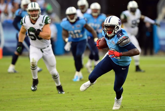 Sep 29, 2013; Nashville, TN, USA; Tennessee Titans wide receiver Kendall Wright (13) runs after a reception against the New York Jets during the second half at LP Field. The Titans beat the Jets 38-13. Mandatory Credit: Don McPeak-USA TODAY Sports