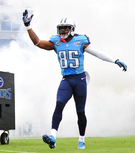 Sep 29, 2013; Nashville, TN, USA; Tennessee Titans wide receiver Nate Washington (85) is introduced before a game against the New York Jets at LP Field. The Titans beat the Jets 38-13. Mandatory Credit: Don McPeak-USA TODAY Sports