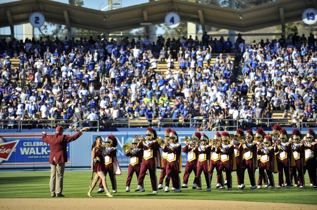 September 29, 2013; Los Angeles, CA, USA; The Southern California marching band performs for a post game rally following the Los Angeles Dodgers 2-1 loss against the Colorado Rockies at Dodger Stadium. Mandatory Credit: Gary A. Vasquez-USA TODAY Sports