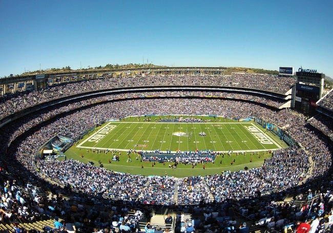 Sep 29, 2013; San Diego, CA, USA; Overall view of Qualcomm Stadium during the San Diego Chargers game against the Dallas Cowboys at Qualcomm Stadium. Mandatory Credit: Christopher Hanewinckel-USA TODAY Sports