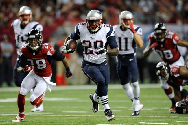 Sep 29, 2013; Atlanta, GA, USA; New England Patriots running back LeGarrette Blount (29) runs for a touchdown against the Atlanta Falcons during the second half at Georgia Dome. The Patriots defeated the Falcons 30-23. Mandatory Credit: Dale Zanine-USA TODAY Sports