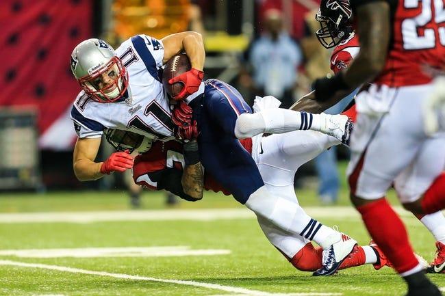 Sep 29, 2013; Atlanta, GA, USA; New England Patriots wide receiver Julian Edelman (11) makes a catch in the second half against the Atlanta Falcons at the Georgia Dome. The Patriots won 30-23. Mandatory Credit: Daniel Shirey-USA TODAY Sports