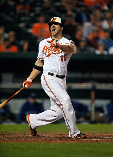 Sep 25, 2013; Baltimore, MD, USA; Baltimore Orioles designated hitter Chris Davis (19) reacts to a strike in the seventh inning against the Toronto Blue Jays at Oriole Park at Camden Yards. The Orioles defeated the Blue Jays 9-5. Mandatory Credit: Joy R. Absalon-USA TODAY Sports
