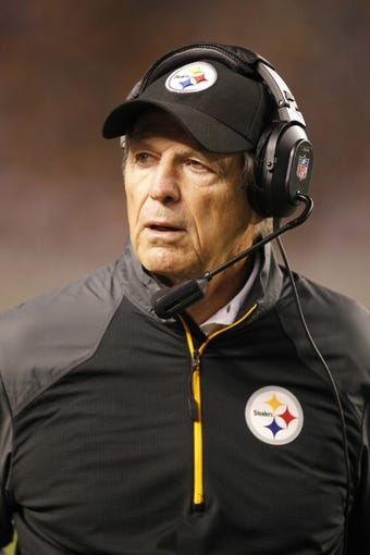 Sep 22, 2013; Pittsburgh, PA, USA; Pittsburgh Steelers defensive coordinato Dick LeBeau on the sidelines against the Chicago Bears during the third quarter at Heinz Field. The Bears won 40-23. Mandatory Credit: Charles LeClaire-USA TODAY Sports