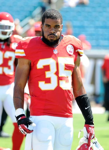 Sep 8, 2013; Jacksonville, FL, USA; Kansas City Chiefs safety Quintin Demps (35) warms up before the start of the the game against the Jacksonville Jaguars at EverBank Field. Mandatory Credit: Melina Vastola-USA TODAY Sports