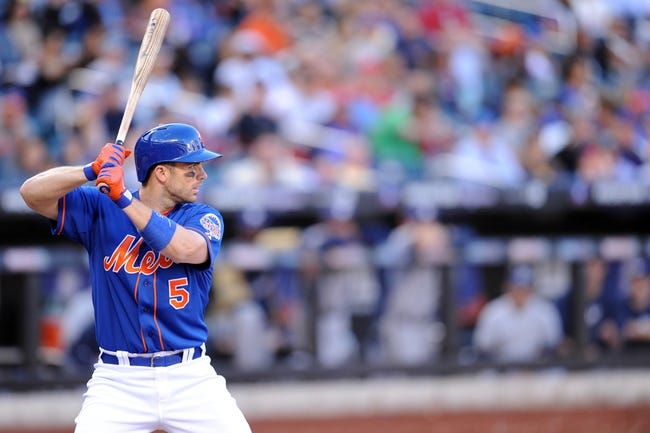 Sep 28, 2013; New York, NY, USA; New York Mets third baseman David Wright (5) stands in to bat against the Milwaukee Brewers at Citi Field. The Brewers won the game 4-2. Mandatory Credit- Joe Camporeale-USA TODAY Sports