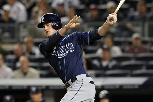 Sep 26, 2013; Bronx, NY, USA; Tampa Bay Rays right fielder Wil Myers (9) bats against the New York Yankees during a game at Yankee Stadium. Mandatory Credit: Brad Penner-USA TODAY Sports