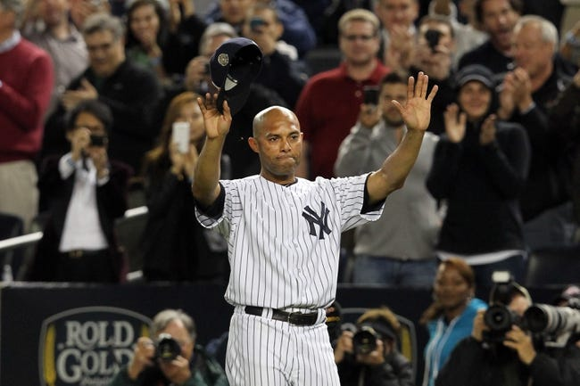 Sep 26, 2013; Bronx, NY, USA; New York Yankees relief pitcher Mariano Rivera (42) acknowledges the fans during the ninth inning of his final home game against the Tampa Bay Rays at Yankee Stadium. Mandatory Credit: Brad Penner-USA TODAY Sports