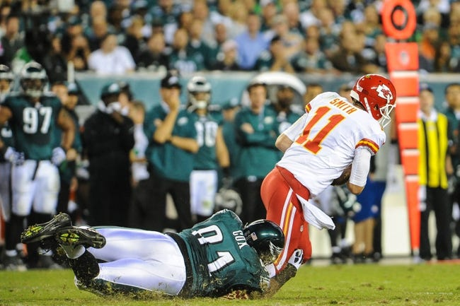 Sep 19, 2013; Philadelphia, PA, USA; Philadelphia Eagles defensive end Fletcher Cox (91) sacks Kansas City Chiefs quarterback Alex Smith (11) during the second quarter of the game at Lincoln Financial Field. Mandatory Credit: John Geliebter-USA TODAY Sports