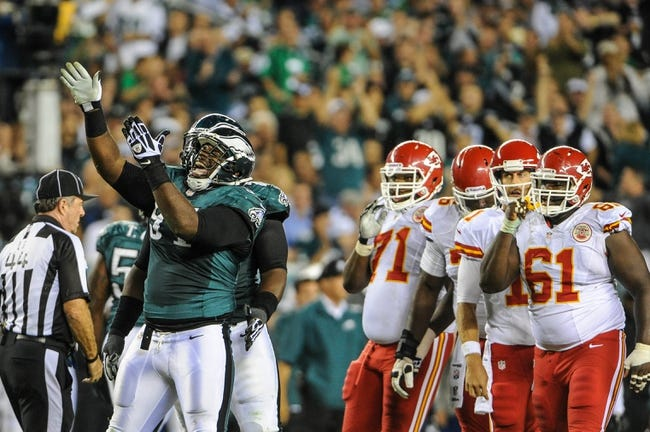 Sep 19, 2013; Philadelphia, PA, USA; Philadelphia Eagles defensive end Fletcher Cox (91) celebrates his sack of Kansas City Chiefs quarterback Alex Smith (11) during the second quarter of the game at Lincoln Financial Field. Mandatory Credit: John Geliebter-USA TODAY Sports
