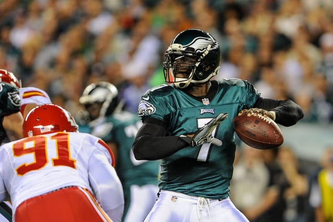 Sep 19, 2013; Philadelphia, PA, USA; Philadelphia Eagles quarterback Michael Vick (7) during the game against the Kansas City Chiefs at Lincoln Financial Field. Mandatory Credit: John Geliebter-USA TODAY Sports