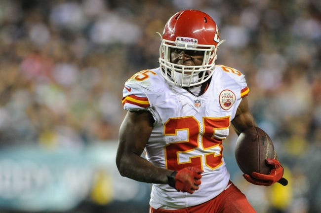 Sep 19, 2013; Philadelphia, PA, USA; Kansas City Chiefs running back Jamaal Charles (25) carries the ball during the fourth quarter of the game at Lincoln Financial Field. The Kansas City Chiefs beat the Philadelphia Eagles 26-16. Mandatory Credit: John Geliebter-USA TODAY Sports