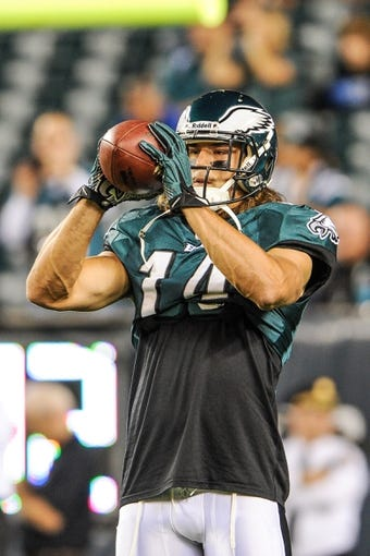 Sep 19, 2013; Philadelphia, PA, USA; Philadelphia Eagles wide receiver Riley Cooper (14) warms up before the game against the Kansas City Chiefs at Lincoln Financial Field. Mandatory Credit: John Geliebter-USA TODAY Sports
