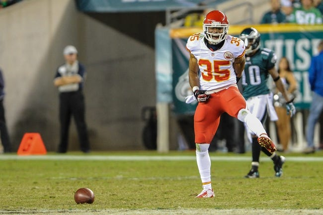 Sep 19, 2013; Philadelphia, PA, USA; Kansas City Chiefs defensive back Quintin Demps (35) reacts to missing an interception during the fourth quarter of the game at Lincoln Financial Field. The Kansas City Chiefs beat the Philadelphia Eagles 26-16. Mandatory Credit: John Geliebter-USA TODAY Sports