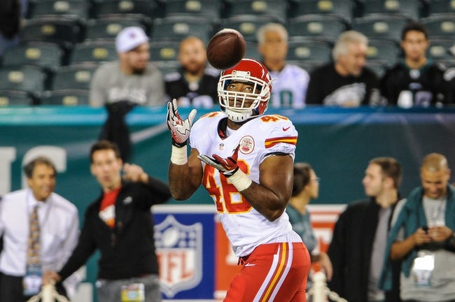 Sep 19, 2013; Philadelphia, PA, USA; Kansas City Chiefs tight end Kevin Brock (46) warms up before the game against the Philadelphia Eagles at Lincoln Financial Field. Mandatory Credit: John Geliebter-USA TODAY Sports