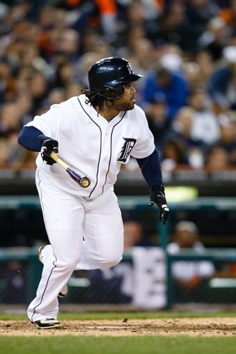 Sep 17, 2013; Detroit, MI, USA; Detroit Tigers first baseman Prince Fielder (28) runs to first against the Seattle Mariners at Comerica Park. Mandatory Credit: Rick Osentoski-USA TODAY Sports
