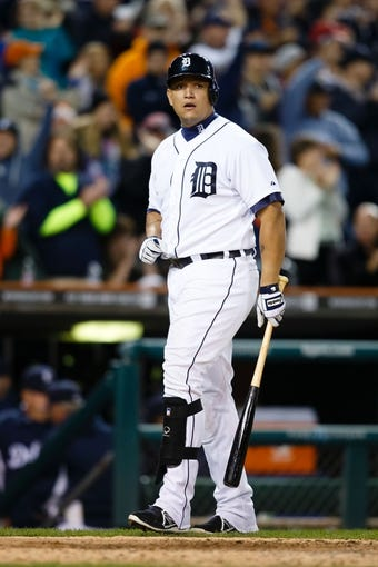 Sep 17, 2013; Detroit, MI, USA; Detroit Tigers third baseman Miguel Cabrera (24) reacts at bat against the Seattle Mariners at Comerica Park. Mandatory Credit: Rick Osentoski-USA TODAY Sports