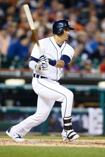 Sep 17, 2013; Detroit, MI, USA; Detroit Tigers designated hitter Victor Martinez (41) at bat against the Seattle Mariners at Comerica Park. Mandatory Credit: Rick Osentoski-USA TODAY Sports