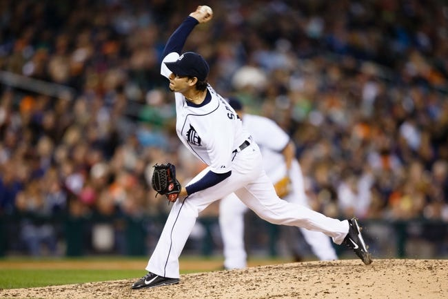 Sep 17, 2013; Detroit, MI, USA; Detroit Tigers starting pitcher Anibal Sanchez (19) pitches against the Seattle Mariners at Comerica Park. Mandatory Credit: Rick Osentoski-USA TODAY Sports