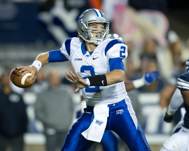 Sep 27, 2013; Provo, UT, USA; Middle Tennessee Blue Raiders quarterback Austin Grammer (2) looks to pass during the second half against the Brigham Young Cougars at Lavell Edwards Stadium. Brigham Young won 37-10. Mandatory Credit: Russ Isabella-USA TODAY Sports