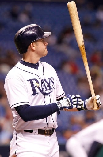Sep 16, 2013; St. Petersburg, FL, USA; Tampa Bay Rays third baseman Evan Longoria (3) at bat against the Texas Rangers at Tropicana Field. Tampa Bay Rays defeated the Texas Rangers 6-2. Mandatory Credit: Kim Klement-USA TODAY Sports