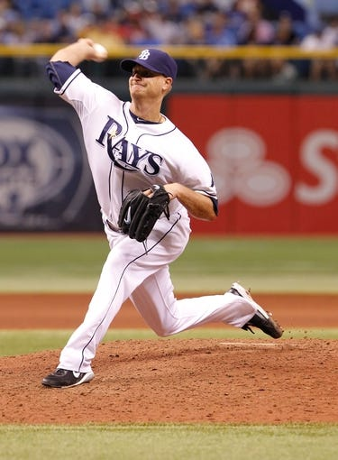 Sep 16, 2013; St. Petersburg, FL, USA; Tampa Bay Rays starting pitcher Alex Cobb (53) throws a pitch against the Texas Rangers at Tropicana Field. Mandatory Credit: Kim Klement-USA TODAY Sports