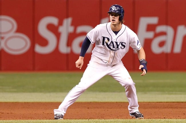 Sep 16, 2013; St. Petersburg, FL, USA; Tampa Bay Rays right fielder Wil Myers (9) leads off against the Texas Rangers at Tropicana Field. Mandatory Credit: Kim Klement-USA TODAY Sports
