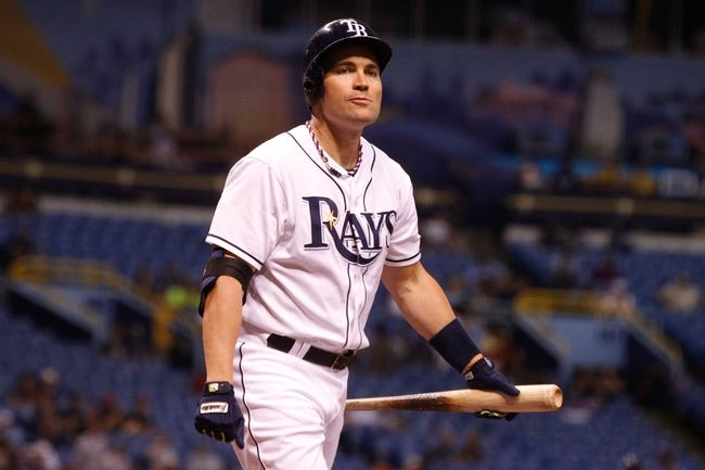 Sep 18, 2013; St. Petersburg, FL, USA; Tampa Bay Rays designated hitter Luke Scott (30) at bat against the Texas Rangers at Tropicana Field. Mandatory Credit: Kim Klement-USA TODAY Sports
