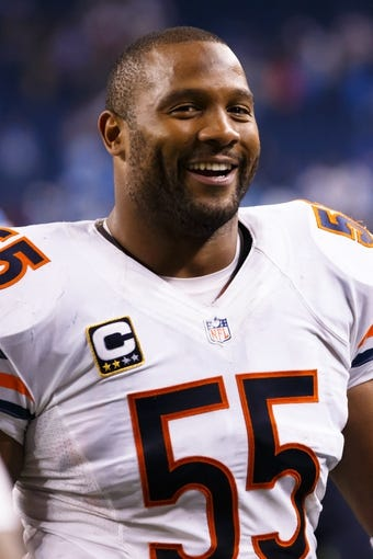 Sep 29, 2013; Detroit, MI, USA; Chicago Bears outside linebacker Lance Briggs (55) after the game against the Detroit Lions at Ford Field. Mandatory Credit: Rick Osentoski-USA TODAY Sports