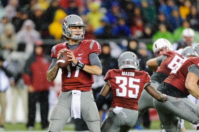 Sep 28, 2013; Seattle, WA, USA; Washington State Cougars quarterback Austin Apodaca (17) during the game against the Stanford Cardinal at CenturyLink Field. Stanford defeated Washington State 55-17. Mandatory Credit: Steven Bisig-USA TODAY Sports