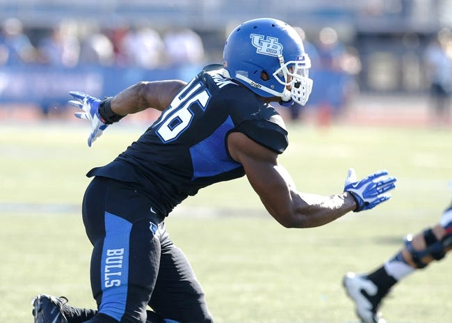 Sep 28, 2013; Buffalo, NY, USA; Buffalo Bulls linebacker Khalil Mack (46) during the game against the Connecticut Huskies at University of Buffalo Stadium. Buffalo beat Connecticut 41-12. Mandatory Credit: Kevin Hoffman-USA TODAY Sports