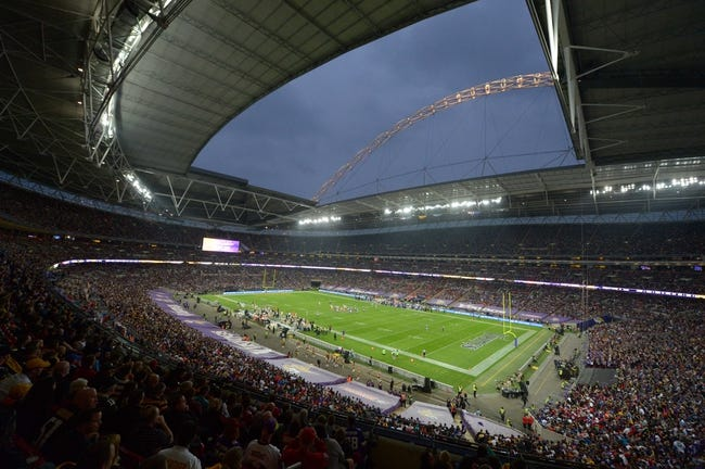Sep 29, 2013; London, UNITED KINGDOM; General view of Wembley Stadium during the NFL International Series game between the Pittsburgh Steelers and the Minnesota Vikings. Mandatory Credit: Kirby Lee-USA TODAY Sports