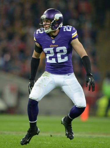 Sep 29, 2013; London, UNITED KINGDOM; Minnesota Vikings safety Harrison Smith (22) during the NFL International Series game against the Pittsburgh Steelers at Wembley Stadium. The Vikings defeated the Steelers 34-27. Mandatory Credit: Kirby Lee-USA TODAY Sports