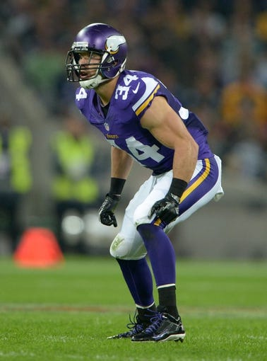 Sep 29, 2013; London, UNITED KINGDOM; Minnesota Vikings safety Andrew Sendejo (34) during the NFL International Series game against the Pittsburgh Steelers at Wembley Stadium. The Vikings defeated the Steelers 34-27. Mandatory Credit: Kirby Lee-USA TODAY Sports