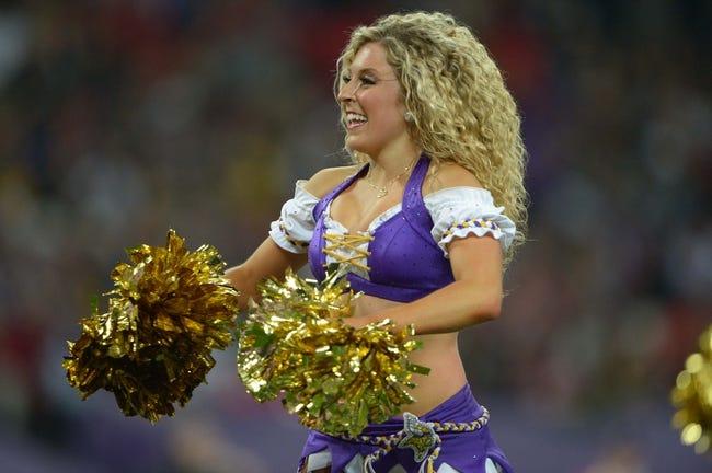 Sep 29, 2013; London, UNITED KINGDOM; Minnesota Vikings cheerleaders perform during the NFL International Series game against the Pittsburgh Steelers at Wembley Stadium. Mandatory Credit: Kirby Lee-USA TODAY Sports