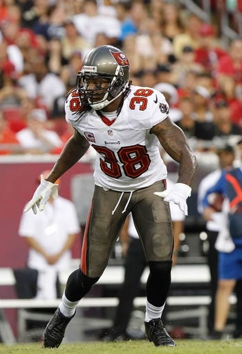 Sep 15, 2013; Tampa, FL, USA; Tampa Bay Buccaneers free safety Dashon Goldson (38) against the New Orleans Saints during the first half at Raymond James Stadium. Mandatory Credit: Kim Klement-USA TODAY Sports